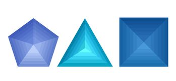 St of 3D geometric shapes with metamorphoses. Vector element for your design Stock Image