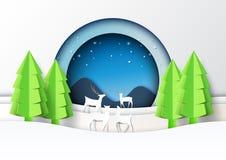 St da arte do papel de fundo da paisagem da estação dos cervos família e do inverno ilustração royalty free