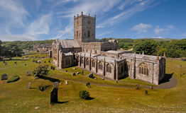 St David's Cathedral. St Davids Cathedral in Pembrokeshire, Wales holds the tomb of Edmund Tuder the father of the first Tuder King of England and Wales Stock Photos