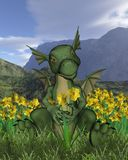 St David's Day - baby dragon and daffodils. Didigtal render of a green baby dragon with daffodils to celebrate St David's Day - patron saint of Wales - on March stock illustration