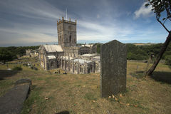 St Davids Cathedral. Saint Davids Cathedral with grave stone in the foreground. Please comment after download Royalty Free Stock Photo