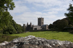St Davids cathedral over the wall Royalty Free Stock Photography