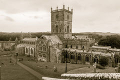 St. Davids Cathedral, Pembrokeshire in sepia tone Royalty Free Stock Photo