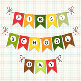 1st day of school buntihg. Cute 1st Day of School bunting flags royalty free illustration