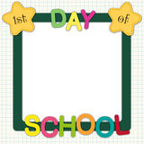 1st day of school frame. Cute 1st Day of School frame with stars and colorful letters royalty free illustration