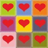 St de illustratie van de valentijnskaartendag met rode harten royalty-vrije illustratie