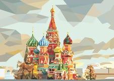 St de Kathedraal van het Basilicum op het rode vierkant in Moskou Rusland vector illustratie