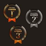 1st, 2de, 3de plaatsembleem ` s met laurels en linten Stock Foto