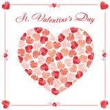 St de prentbriefkaar van de Valentijnskaartendag Stock Afbeeldingen