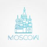 St de renommée mondiale Basil Cathedral Les plus grands points de repère de l'Europe Icône linéaire de vecteur pour Moscou Russie Image stock