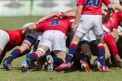 1st de Teamsmiddelbare scholen van de rugbyactie Stock Afbeeldingen