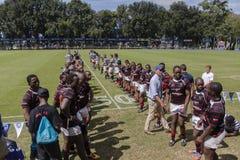 1st de Teamsmiddelbare scholen van de rugbyactie Royalty-vrije Stock Foto's