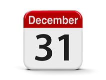 31st December. Calendar web button - The Thirty First of December, three-dimensional rendering, 3D illustration Stock Photo