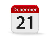 21st December. Calendar web button - The Twenty First of December, three-dimensional rendering, 3D illustration Royalty Free Stock Images