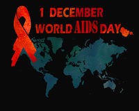 1st December World Aids Day concept. With text, world map  and red ribbon of aids awareness. Watercolor illustration Royalty Free Stock Image