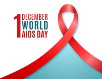1st December World AIDS Day. Banner with text and Red ribbon. Vector illustration vector illustration