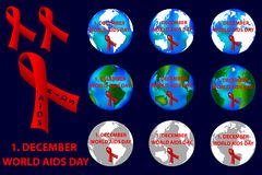 1st December World AIDS Day,. 1st December World AIDS Day - vector logo, red ribbon, Aids Awareness stock illustration
