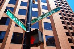 St del estado de Boston y calle Massachusetts del congreso fotografía de archivo libre de regalías