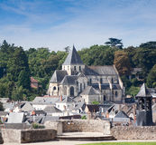 St. Denis Church Amboise France. Saint Denis church taken from the ramparts of Chateau Amboise across the roofs of houses in the centre of the town royalty free stock photos