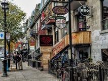 St Denis gata Montreal Arkivbilder