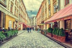 St di Staroievreiska, centro urbano, Leopoli, Ucraina Fotografia Stock Libera da Diritti