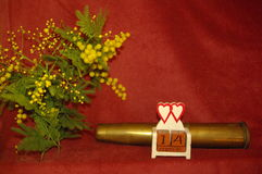 St Dia do ` s do Valentim Faça o amor & não guerreie Imagens de Stock