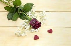 St Dia do ` s do Valentim Rosa do vermelho e dois corações Foto de Stock