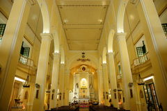 St. Dominic's church, Macau. Interior. St. Dominic's Church, Largo de Sao Domingos (st. dominic square) - The pastel-coloured church was founded in 1587 by Royalty Free Stock Image