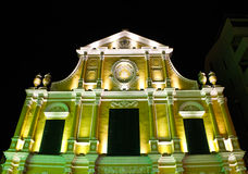 St. Dominic's Church in Macau at night. Stock Photos