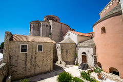 St. Donat church viewed from bell tower of St. Anastasia church in Zadar, Croatia Stock Photos