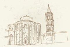 St Donat på det roman forumet, Zadar, Kroatien royaltyfri fotografi