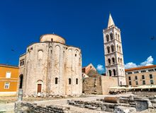 St. Donatus Church and the Bell Tower of Zadar Cathedral. Croatia royalty free stock image