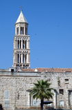 St. Duje chatedrale. Tower of St. Duje chatedrale with part of side wall of Diocletian Palace. In Split, Croatia Royalty Free Stock Photography
