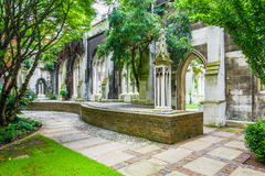 St. Dunstan-in-the-East. A church was largely destroyed in the Second World War and the ruins are now a public garden in London Royalty Free Stock Photos