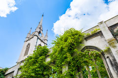St. Dunstan-in-the-East. A church was largely destroyed in the Second World War and the ruins are now a public garden in London Royalty Free Stock Photo
