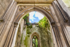 St. Dunstan-in-the-East. A church was largely destroyed in the Second World War and the ruins are now a public garden in London Stock Photo