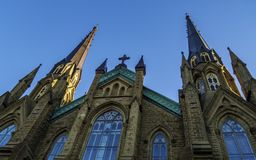 St. Dunstan`s Basilica Cathedral in the sunny day in Charlottetown stock photos