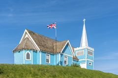 St. Edmund`s church in Big Valley, Alberta stock image