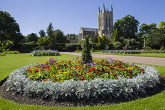 St. Edmundsbury Cathedral from Abbey Gardens in Bury St. Edmunds. A view of the beautiful flowers in Abbey Gardens and the historic St. Edmundsbury Cathedral in Stock Images