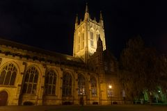 St Edmundsbury Cathedral in Bury St Edmunds at night. With path and grass stock image