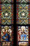 St. Edward and the coat of arms of prebendary Eduardo de Talliana Vizek, stained glass in Zagreb cathedral Stock Images