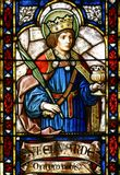 Saint Edward. St. Edward, stained glass in Zagreb cathedral Royalty Free Stock Photos