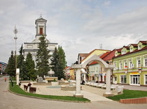 St. Egidius Square in Poprad.  Slovakia Royalty Free Stock Images
