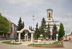 St. Egidius Square in Poprad.  Slovakia Royalty Free Stock Photography