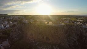 St Elias Church standing on rocky hill in Protaras, Cyprus landmark aerial view. Stock footage stock video footage