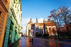 St Elisabeth cathedral in Kosice, Slovakia. St Elisabeth cathedral view from street in Kosice, Slovakia Royalty Free Stock Images