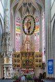 St. Elisabeth`s Cathedral in Kosice, Slovakia. KOSICE, SLOVAKIA - MAY 11: Interior of St. Elisabeth`s Cathedral on May 11, 2019 in Kosice stock image