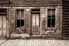 St Elmo Ghost Town in Colorado. One of the old abandoned general store fronts in the historic ghost town of St Elmo in Colorado. Closeup of doors, windows and Royalty Free Stock Image