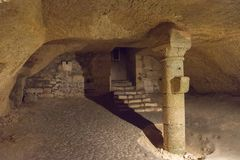 St. Emilion Monolithic Church, interior Stock Photos