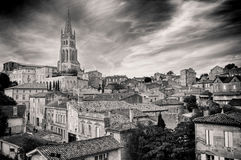 St Emilion village in Bordeaux region, monochrome Stock Photos